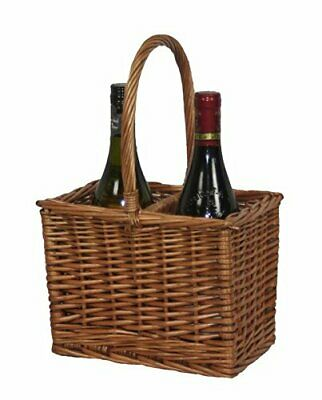 New Willow Direct Rustic Wicker Double Steamed 2 Bottle Wine Drinks Basket DB001