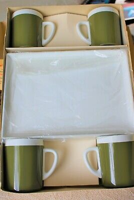 Vintage West Bend Thermo Serv Sip N Snack set-4 Cups &Trays- Avocado Green