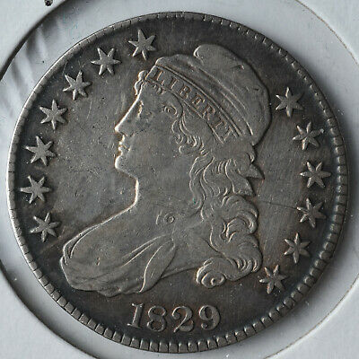 1829 50C Capped Bust Half Dollar Type Coin Circulated Very Fine VF