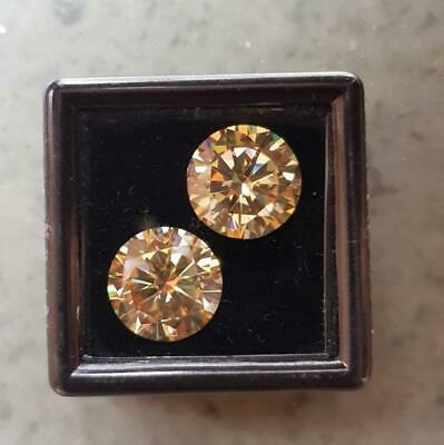Loose Moissanite Brown Round Stone Sale by Pair Width 1.48 Ct 6.05 mm ClaritySI2