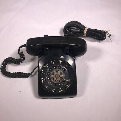 Vintage BLACK Rotary Dial Desk Telephone, Bell System by Western Electric [AD09]