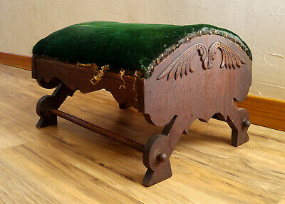 Antique 19th c Victorian Carved Wood Green Velvet Foot Kneeling Stool Ottoman