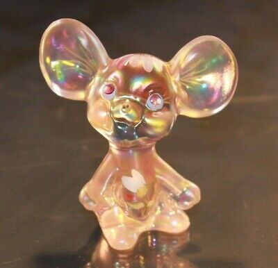 Vintage Fenton Iridescent Pink Glass mouse hand painted and signed by M Kibbe