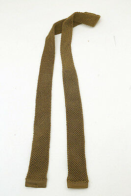 "Genuine Vintage 1950s Skinny Knitted Mod Tie Slim Square End Gold 1.5"" wide"