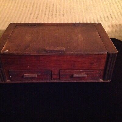 Lovely Old Wooden Box, Hinged Lid And 2 Draws.