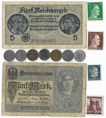 German Rare Old WWII Great War Note Coin Stamp WW2 Collection Reichsmark Pfennig