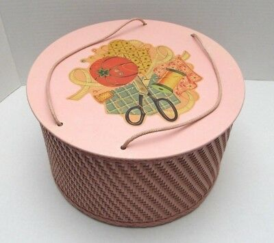 Collectible Pink PRINCESS Round Wicker Wood Sewing Basket Vintage 1950's-60s VGC