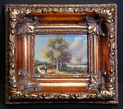 Miniature Oil Painting on Board Lonely Hunter in the Valley in Gold Gilt Frame