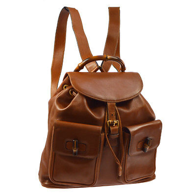 0bf8442a8fa5 Auth GUCCI Bamboo Handle Backpack Hand Bag Brown Leather Vintage Italy  AK20739