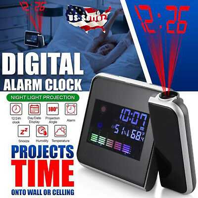 Kids Projection Digital Alarm Clock Snooze Weather Thermometer Color Display LED