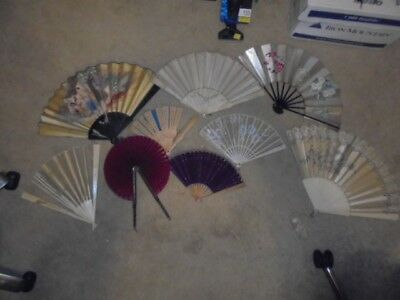 6 Vintage/Antique/Estate Beautiful Chinese Made in China Hand Fans Rare Offering