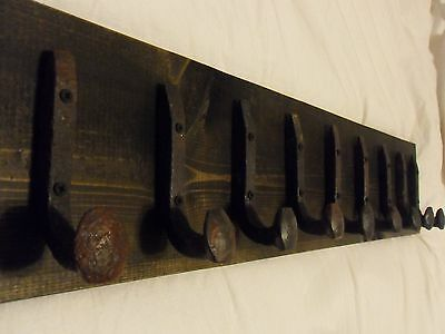 "9 Antique Hooks Old Railroad Spike Art ""Black Ebony"" Vintage Style Coat Rack"