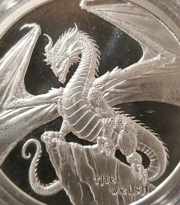 THE WELSH DRAGON, World Of Dragons Series 1 oz. .999 SILVER Red Dragon