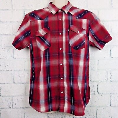 Men's Levis Vintage Red Plaid Western Short Sleeve Pearl Snap Shirt L Large