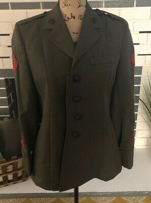 USMC US Marine Corps Women's Dress Alpha Green Coat Jacket Uniform
