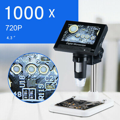 "1000X 4,3 ""LCD Display Bewegliche Mikroskop 720P 8 LED  Elektronisches Digital"