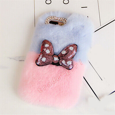 Luxury Bling Glitter Sequins 3D Bowknot Fluffy Plush Rabbit Fur Phone Case Cover