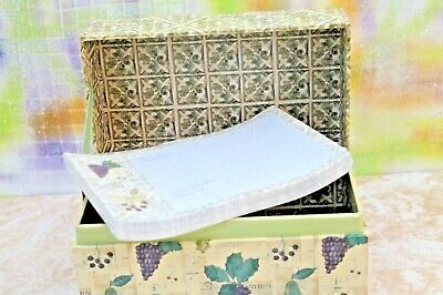 """Grape Fruit Pattern Recipe Box with Dividers + Cards, 6.5"""" x 3.5"""" New"""
