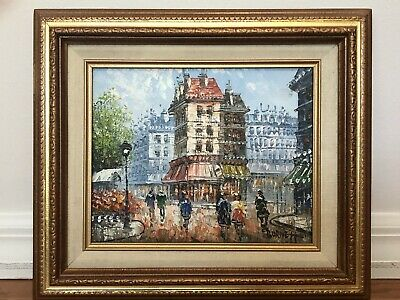 ORIGINAL CAROLINE BURNETT Paris Street Scene Oil Painting Canvas  Impressionism