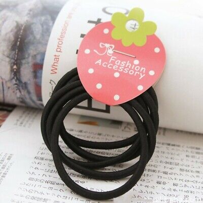 10Pcs Black Color Rope Elastic Hair Ties 4mm Thick Hairbands Women Hair Bands