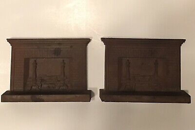 Set Of Antique B&H Bradley & Hubbard Cast Iron Bookends Fireplace Cast Iron