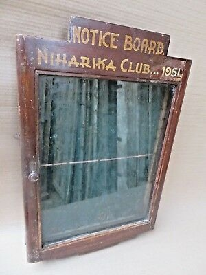 Vtg hanging wall wood Cabinet NOTICE BOARD Glass fitted hinged door Shabby chic