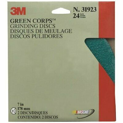 "3M Production 31923 Green Corps Grinding Disc - 7"" x 7/8"" 24 Grade"