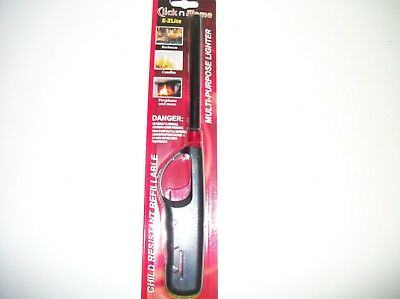 CLICK N' FLAME Refillable Long Butane Lighter Fireplace BBQ Candles & More.USA!!