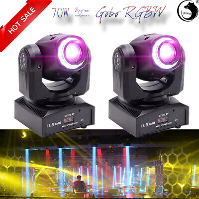 2PCS 70W LED RGBW Moving Head Light DJ Party 8Pattern Gobo Stage Lighting Disco