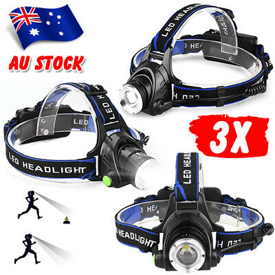 3X 21000LM Rechargeable LED Headlamp Headlight CREE T6 Head Torch Lamp Set