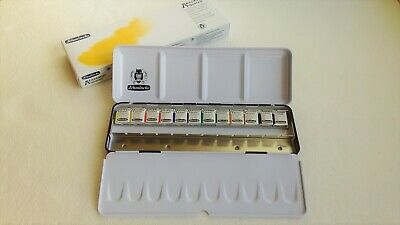 Schmincke Akademie Aquarell Watercolor 1/2 12 Half Pan with Metal Box 75412