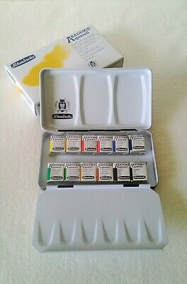 Schmincke Akademie Aquarell Watercolor 1/2 12 Half Pan with Compact Case 75112