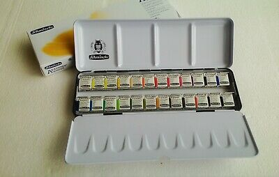 Schmincke Akademie Aquarell Watercolor 1/2 24 Half Pan with Metal Box 75424