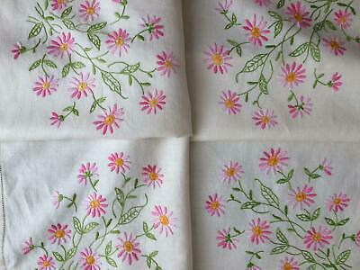 Vintage Cream Linen Hand Embroidered Tablecloth