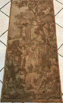INTERESTING ANTIQUE FRENCH TAPESTRY PANEL HORSES DOGS FALCON c1900