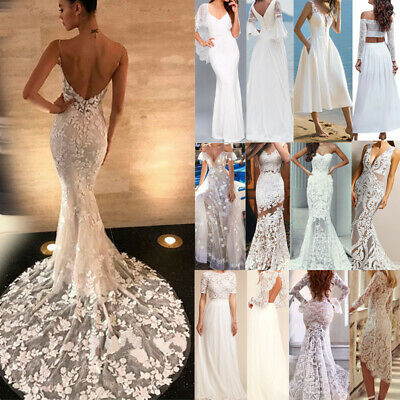 Womens Bridesmaid Dress Long Lace V-neck Evening Party Dresses Wedding Gowns