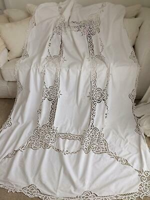 Vintage White Cotton Ornate Tape Lace Embroidered Large Buffet Tablecloth 62x96