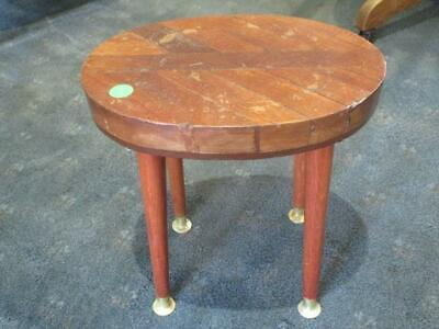 Antique Small Oval Wooden Parquetry Side Table Brass Feet