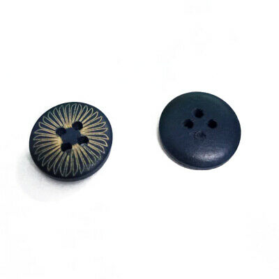 100Pcs 4 Holes Dark Blue Wood Wooden Round Buttons Sewing Scrapbooking 15mm