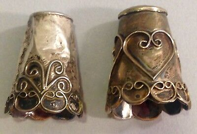 Lot of two Mexican  handmade primitive  Silver Thimbles filigree
