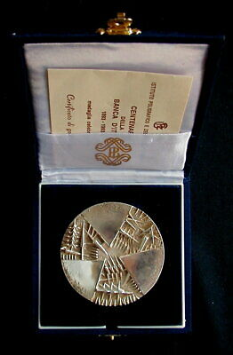 1993 ITALY rare silver MEDAL 100th BANCA D'ITALIA Zecca by Pomodoro official box