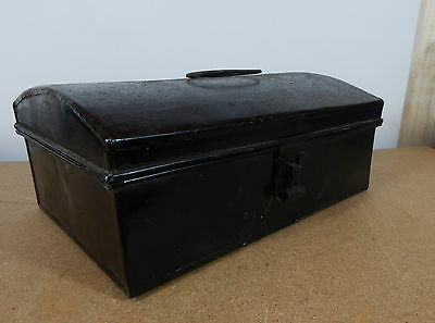 Vintage Tin Dome topper small storage chest Stationary etc 33cm x22cm hasp catch