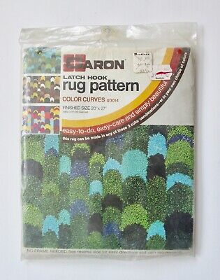 NOS Unopened Vtg 70s Caron Geometric Latch Hook Rug Wall Hanging Pattern Canvas
