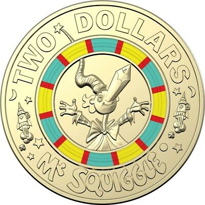 """Brand New 2019 Mr Squiggle & Friends """"Squiggle"""" $2 Two Dollar Coin Uncirculated"""