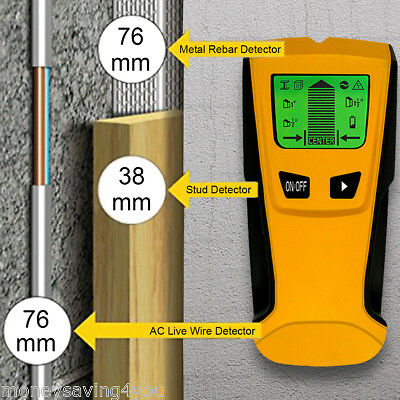 Floureon 3in1 LCD Wall Detector Stud Center Finder Metal AC Live Wire Scanner US
