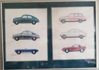 3 x Old Saab Framed Posters.Each frame contains 2 posters with 3 models on each.