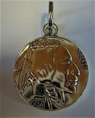 USA 1937 5 cent Indian head copy key ring
