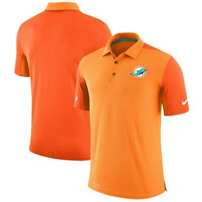 4658d1e6009 MIAMI DOLPHINS NIKE Orange Sideline Team Issue Logo Performance Polo ...