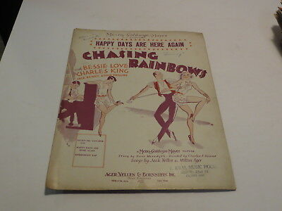 :) Vintage Happy Days Are Here Again - Jack Yellen 1929 Sheet Music > :)