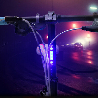 1X Blue LED Bicycle Tail Light Rechargeable Warning Night Rear Bike Cycling Lamp